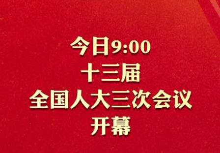 今日9:00十三届全国人大三次会议开幕