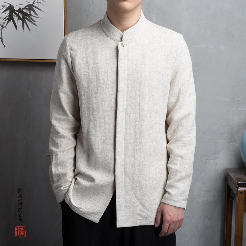 【玖码】  棉麻男士长袖衬衫C232 中国风 中式立领  汉服禅服