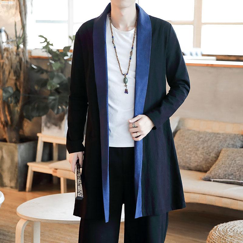 秋季新款男装中长款风衣男士棉麻外套民族风大码中国风F134