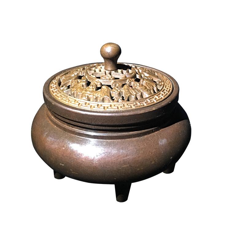 旭日青铜  纯铜龙底三足香熏炉 供佛创意摆件 家用摆件 仿古摆件