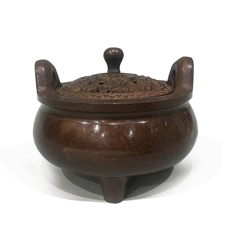 旭日青铜 纯铜卷耳香炉仿古香熏炉 供佛创意摆件 家用摆件 仿古摆件