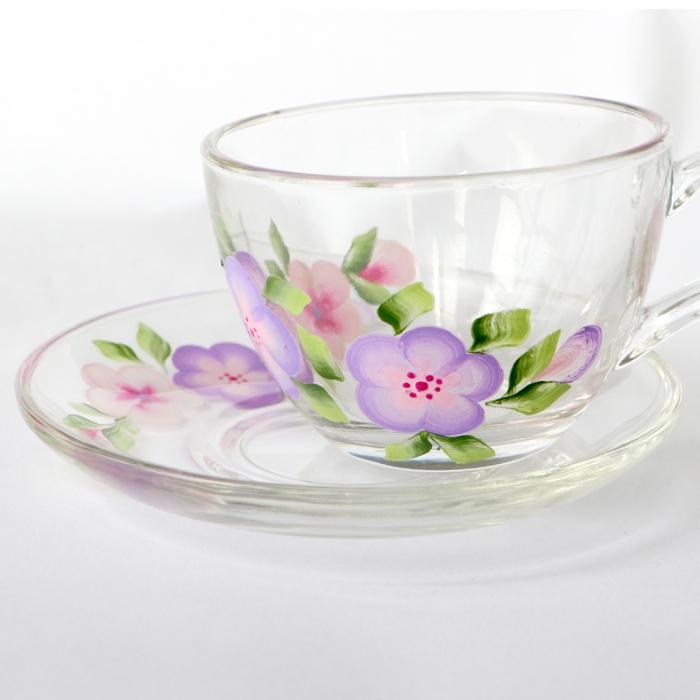 纯手工彩绘 美学家居  玻璃咖啡杯  茶杯