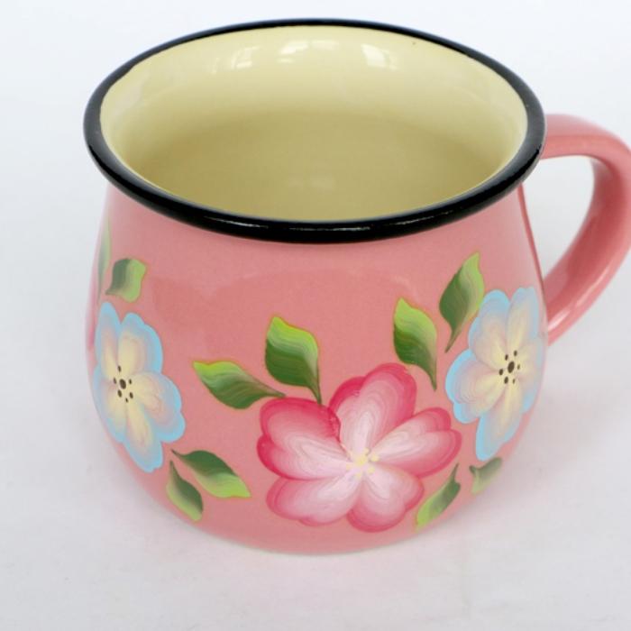 纯手工彩绘 美学家居可爱粉 陶瓷早餐杯  咖啡杯