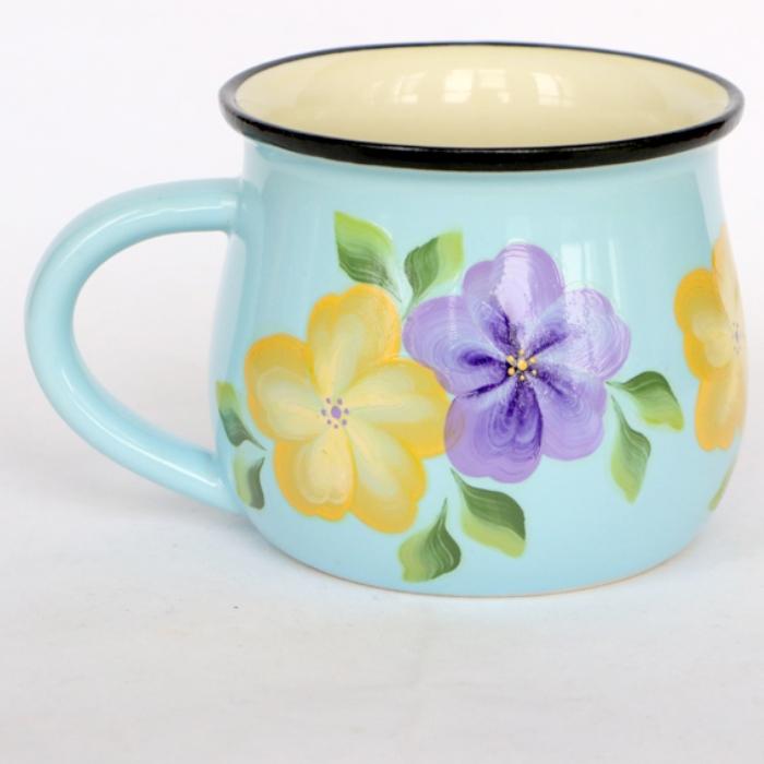 爱屋阳光  纯手工彩绘美学家居 清新蓝陶瓷早餐杯 咖啡杯
