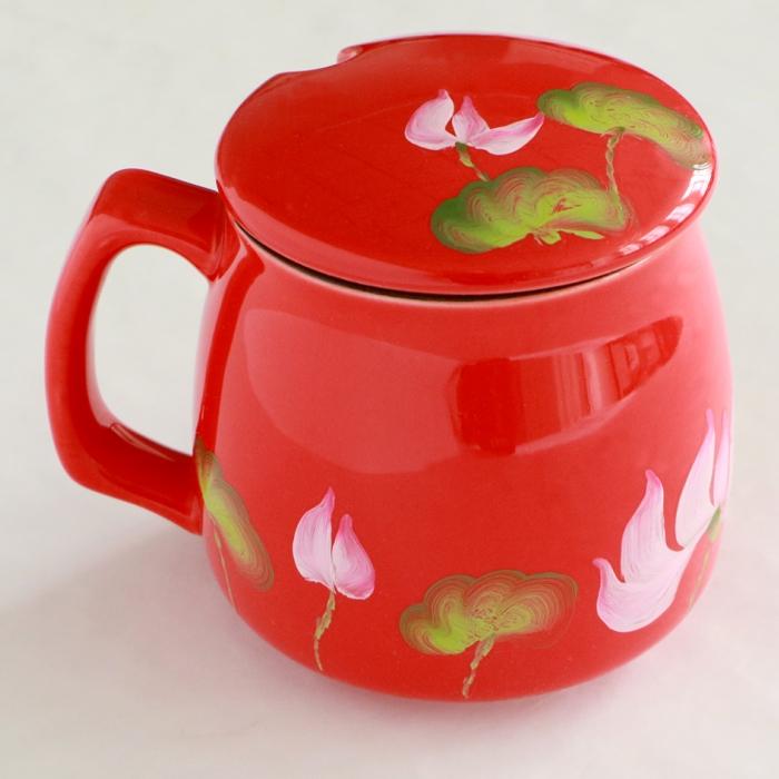 爱屋阳光  纯手工彩绘荷花 中国红陶瓷带盖 早餐杯  咖啡杯