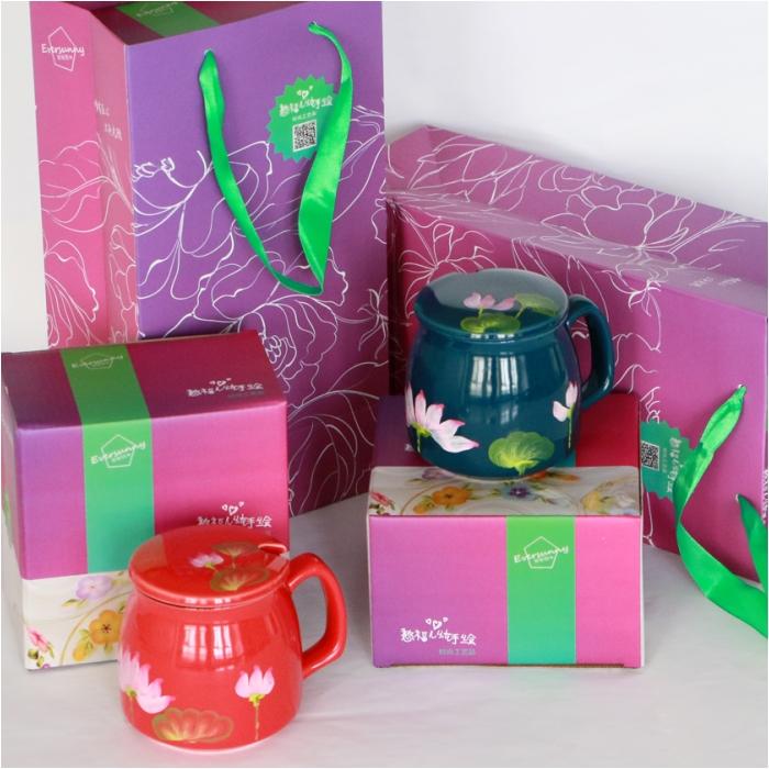 纯手工彩绘 带盖陶瓷杯 早餐杯  咖啡杯 美学家居送礼佳品