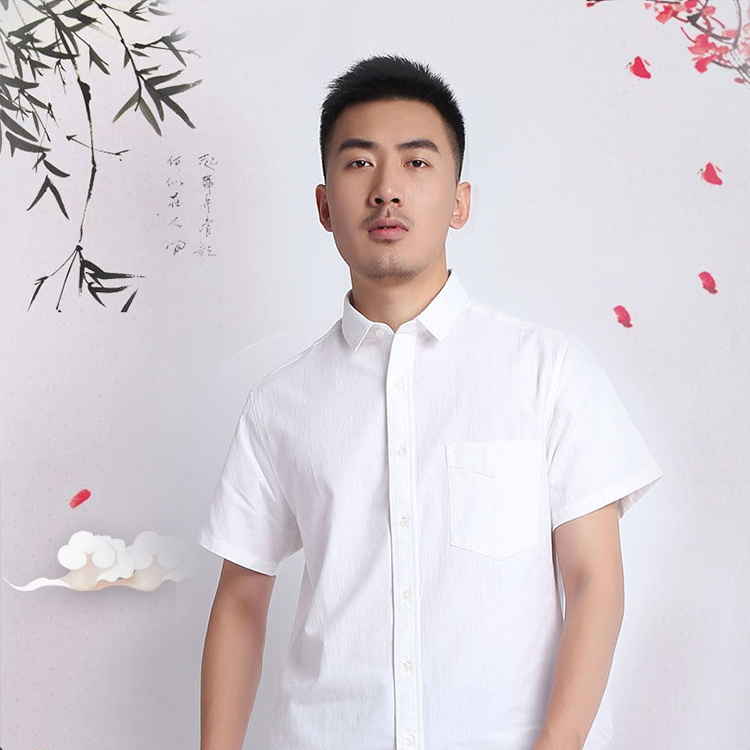 乡韵夏季男士纯棉衬衫,职业工装商务正装男全棉衬衣