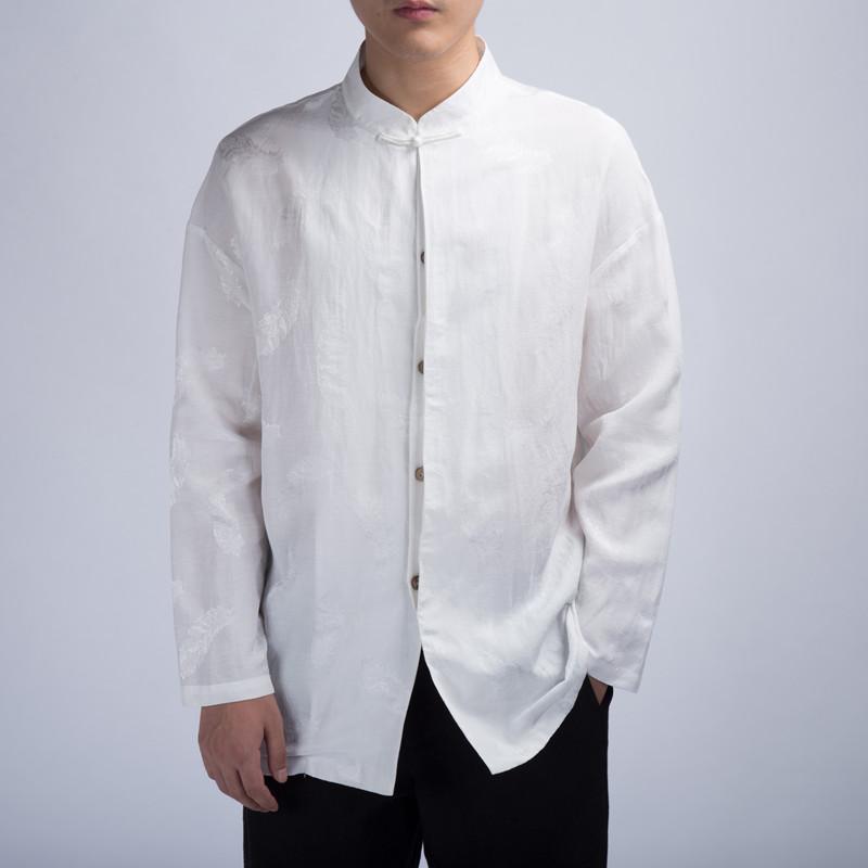 玖码  休闲长袖衬衫复古棉麻QT916-C235  中式提花  秋冬季  传统服装