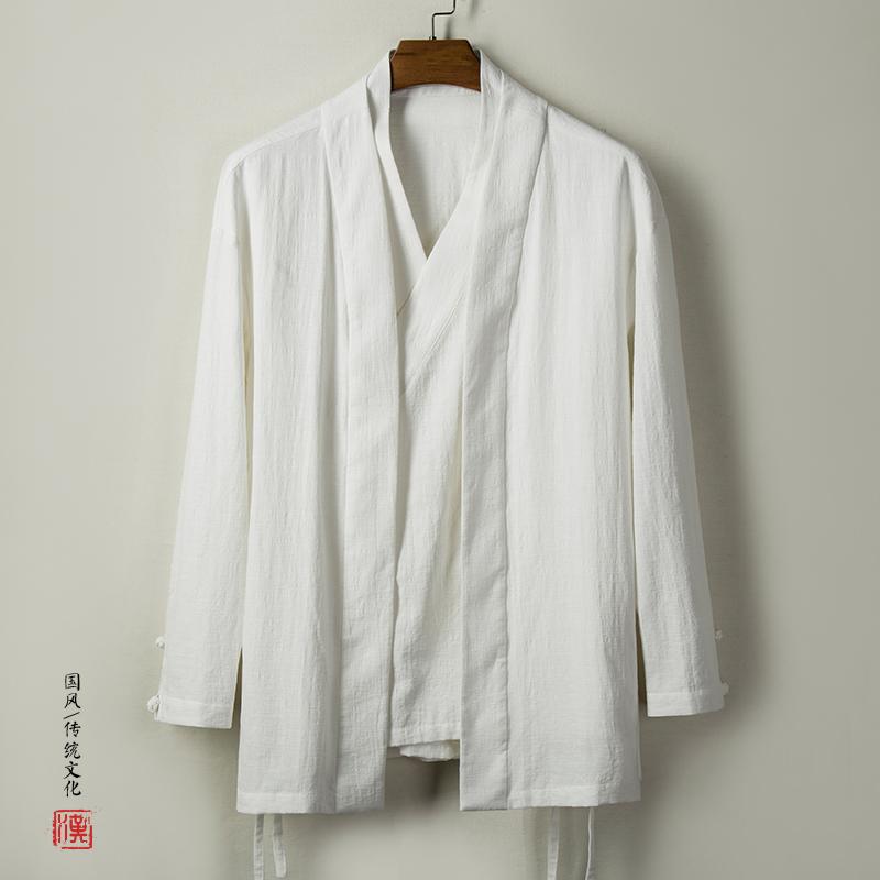 玖码  古风上衣男装斜襟亚麻外套QT916-C77  中式复古 休闲 棉麻 汉服 假两件
