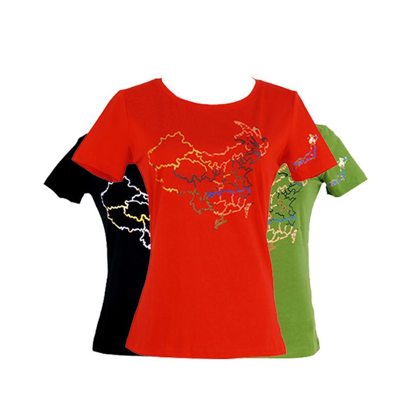 【达瑰孜】夏季新款女款圆领T恤版图款,95%棉不起球,不掉色DGZ1702女款