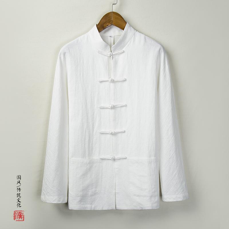 玖码 长袖衬衫中式棉麻唐装汉服男QT916-C28  中国风 春秋季男装 宽松大码 盘扣立领 亚麻