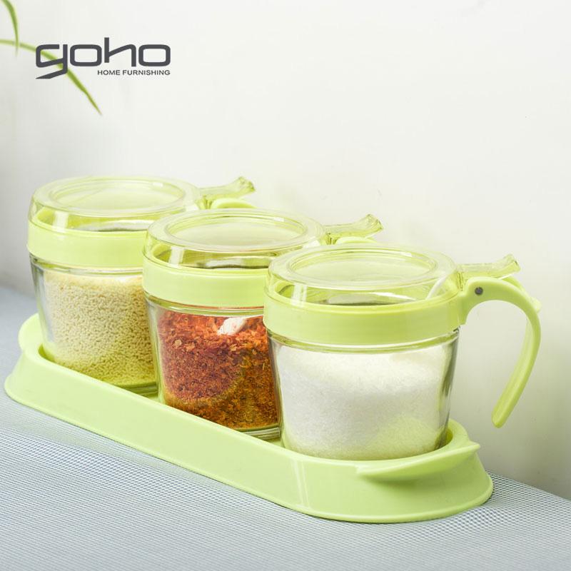 玻璃调味罐套装 厨房调味盒4件套
