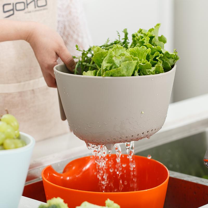 加厚双层洗菜篮沥水篮 洗菜盆水果篮水果盘沥滤水筛