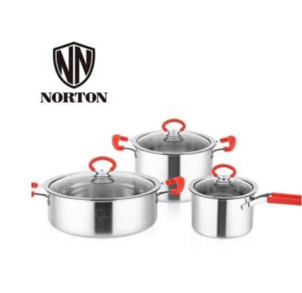 诺顿艾利尔-炫彩套装 食品级特厚不锈钢汤锅+奶锅+煎锅三件套 防烫设计