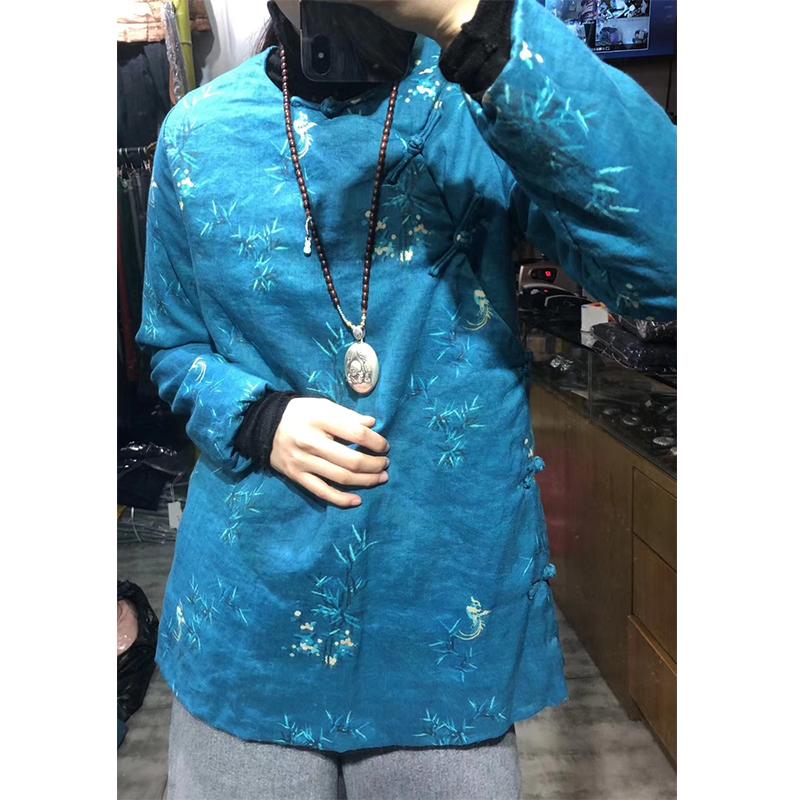 中国风圆领苎麻手工棉衣女装女上衣8色可选