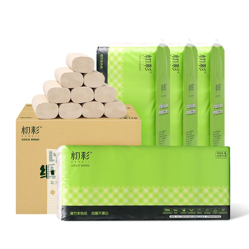 【初彩】竹纤维实心扁纸4层70克40卷CC007-40X