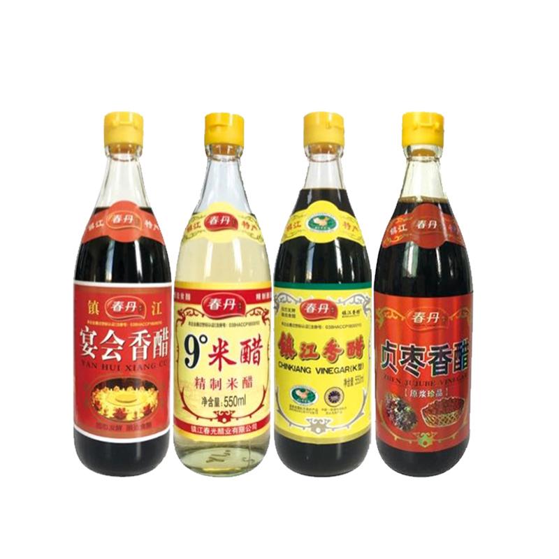【春丹】镇江香醋(K型)+宴会香醋+贞枣香醋+9°米醋550ml/瓶*4瓶