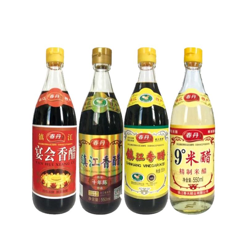 【春丹】镇江香醋(十年陈)+贞枣香醋+泡脚醋+9°米醋550ml/瓶*4瓶