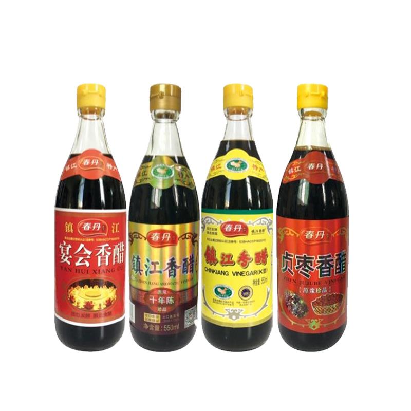 【春丹】镇江香醋(十年陈)+镇江香醋(K型)+宴会香醋+贞枣香醋550ml/瓶*4瓶