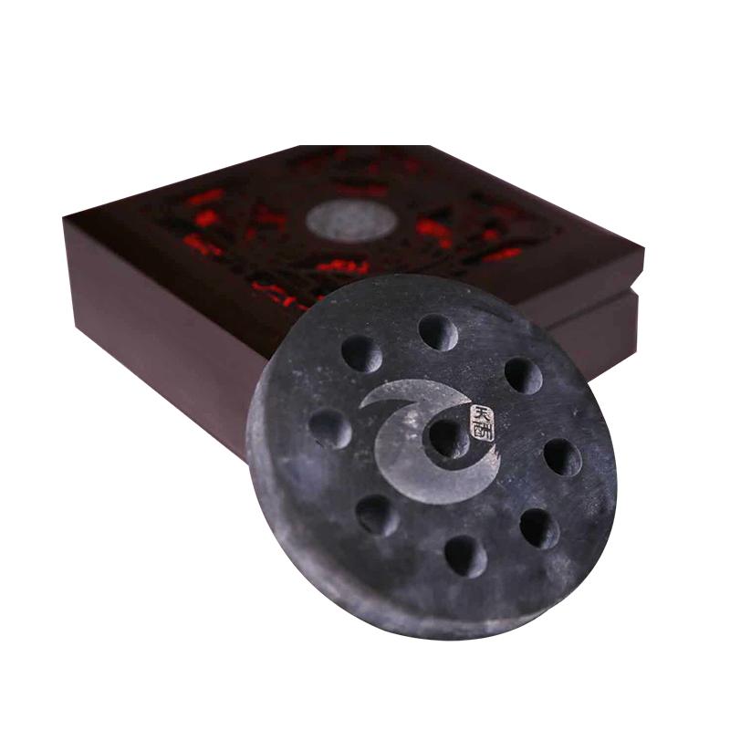 【玉原嘉】墨玉解毒盘 直径9cm,孔径1cm*9,厚度1.5cm木盒包装