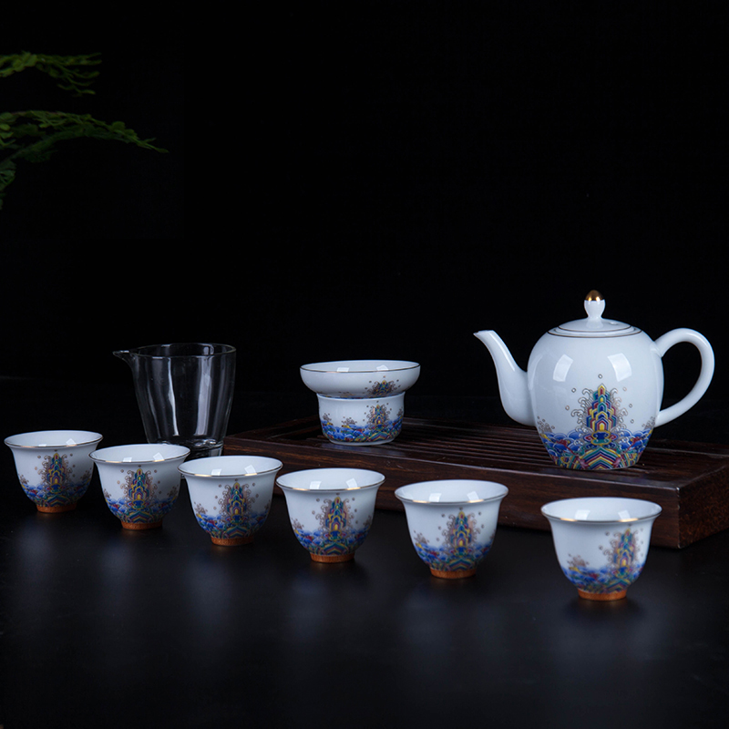 景德镇茶具套装家用办公水杯杯子珐琅彩碗手绘简单礼品盒10件套
