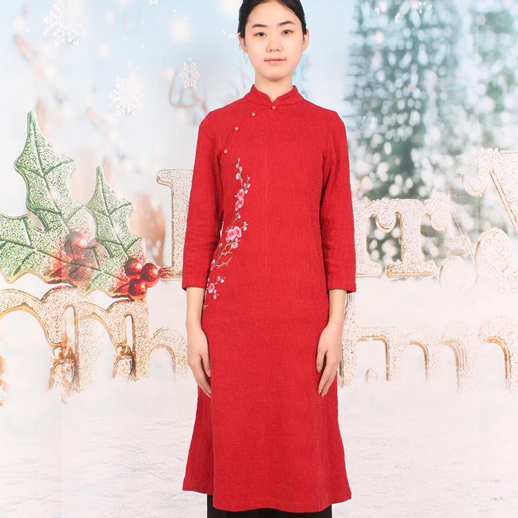 中式传统女装旗袍连衣裙复古文艺棉麻中长款长袖服装