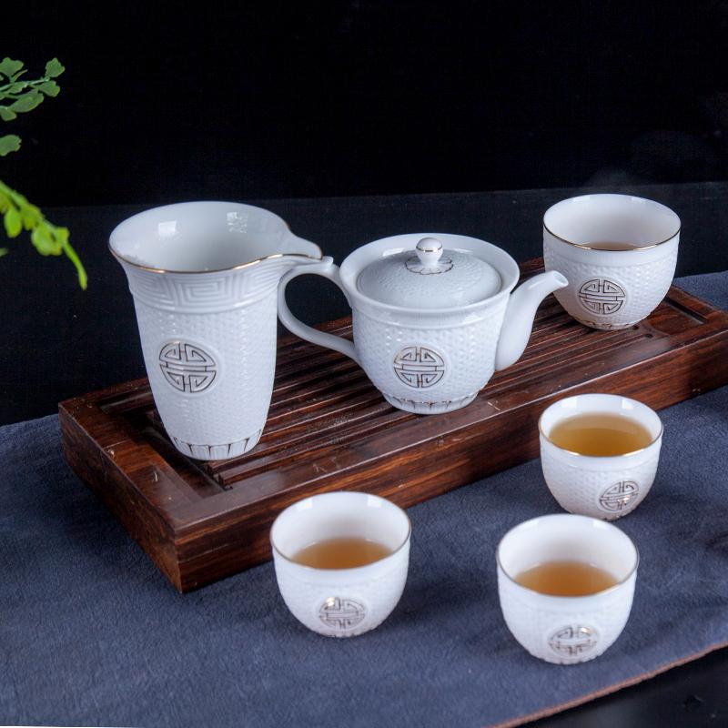 景德镇茶具杯子水杯套装礼品盒定制碗家用办公11件套手工简单