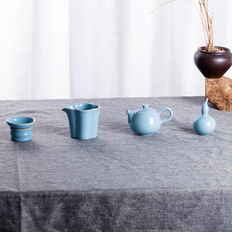 景德镇茶具套装水杯杯子碗礼品盒家用办公定制简单汝瓷10件套