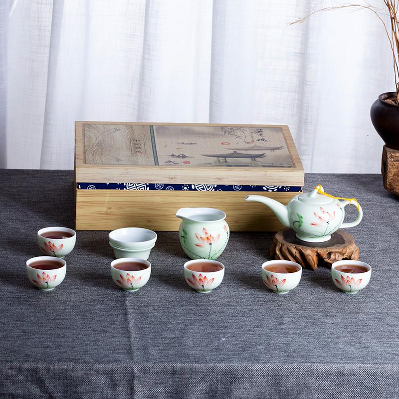 景德镇茶具杯子水杯礼品盒套装手工家用办公简单10件套简单
