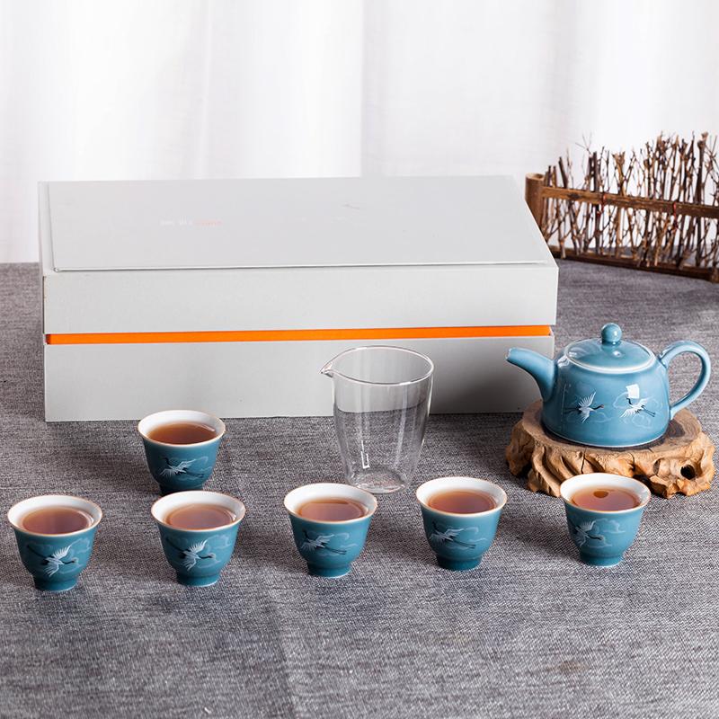 景德镇茶具套装水杯杯子礼品盒简单家用办公碗主人杯8件套