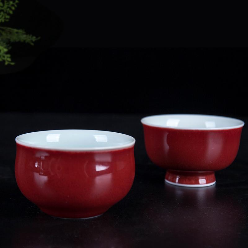 景德镇茶具水杯杯子主人杯碗单杯郎窑红