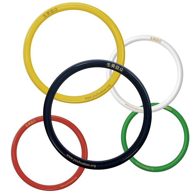 五行聚能环 量子手环 一套五个(白色,绿色,黑色,红色,黄色)
