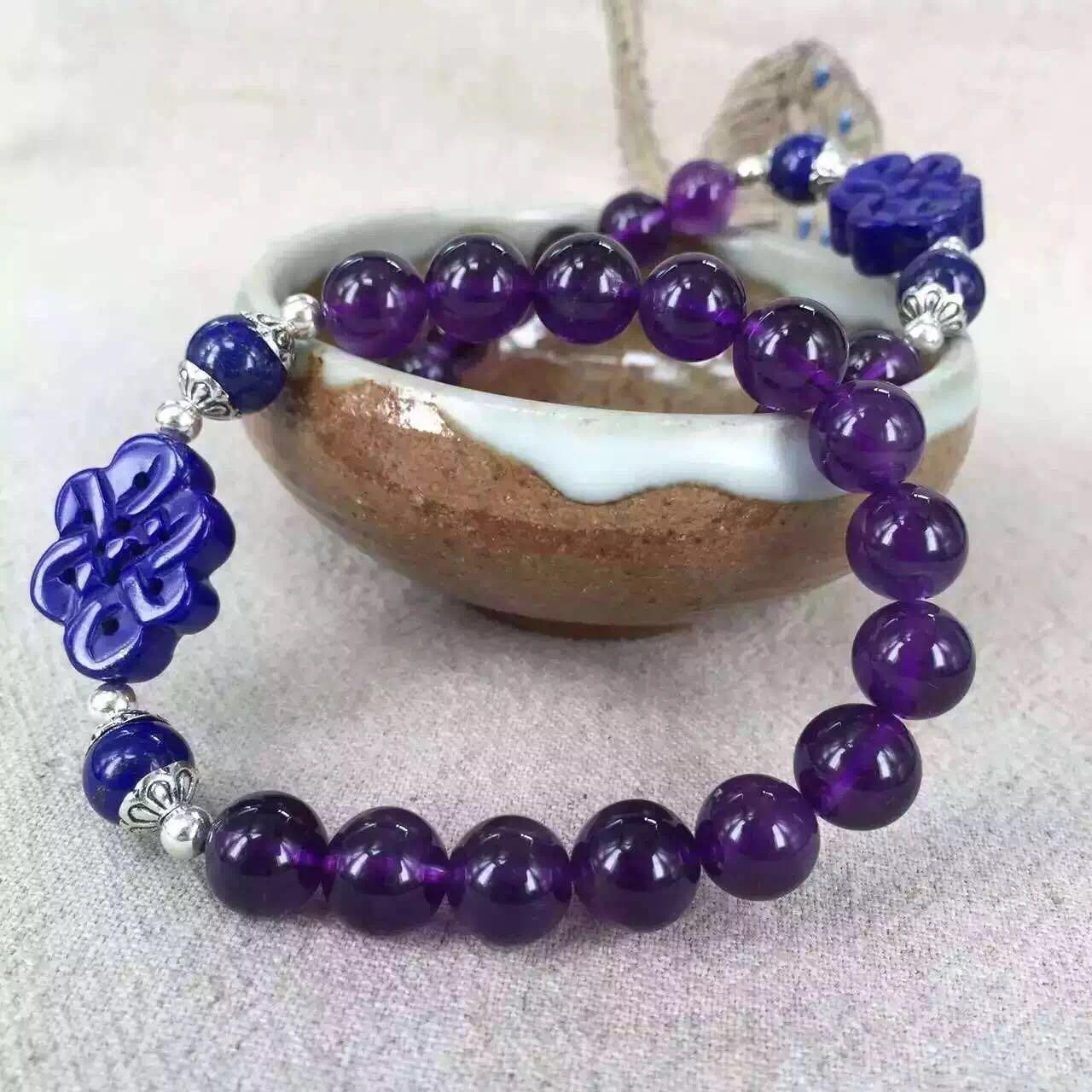 新款青金石紫晶手链 天然青金石中国结