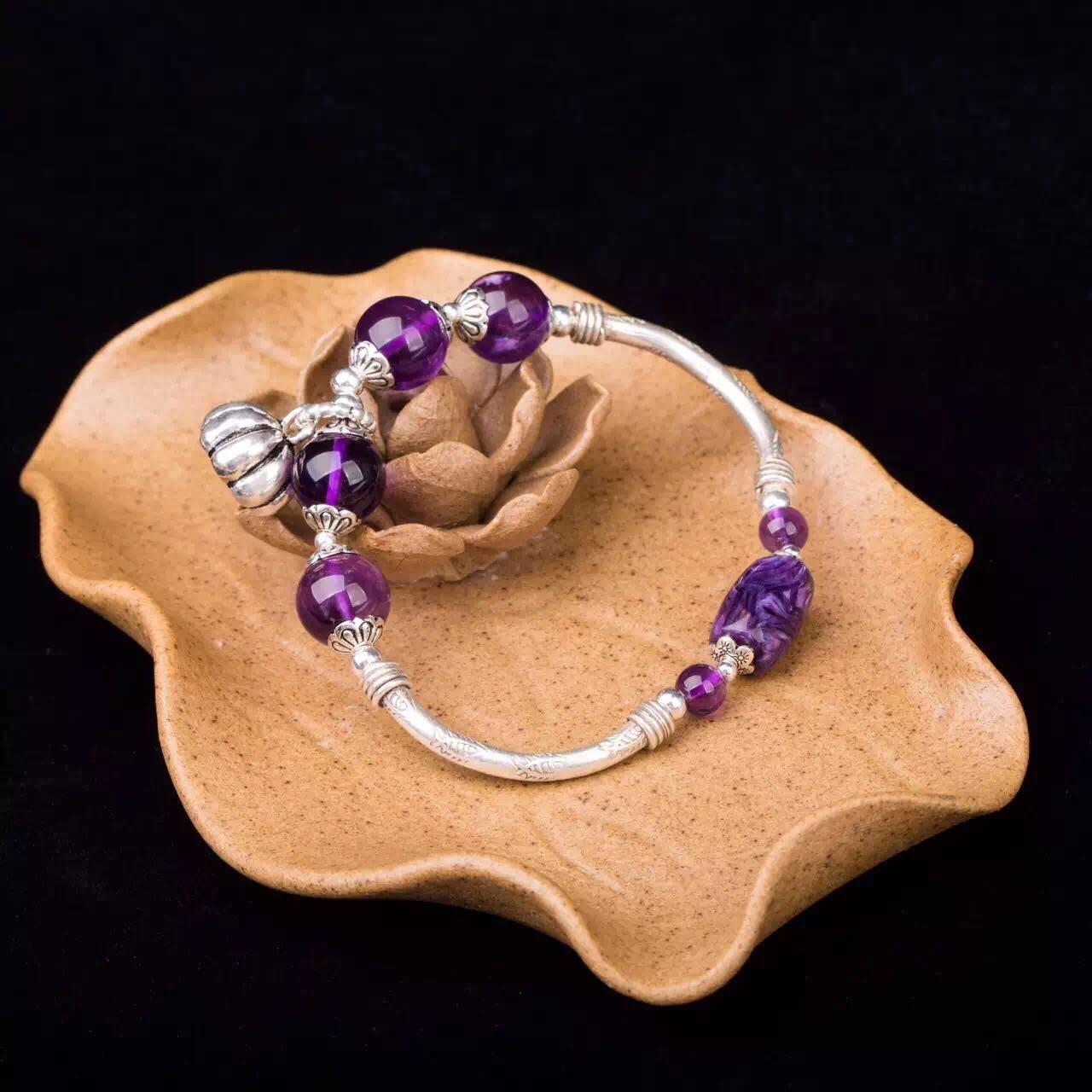 紫晶纯银手环