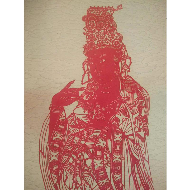 立式挂轴观音 蔚县剪纸 非物质文化遗产 传统工艺品  装饰 送礼 中国特色 手工剪纸