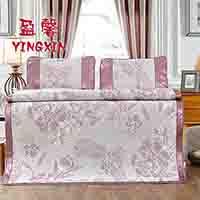 【盈馨家纺】冰丝席三件套-牡丹盛世-新疆、西藏、青海、内蒙古、海南不包邮  凉席 席子